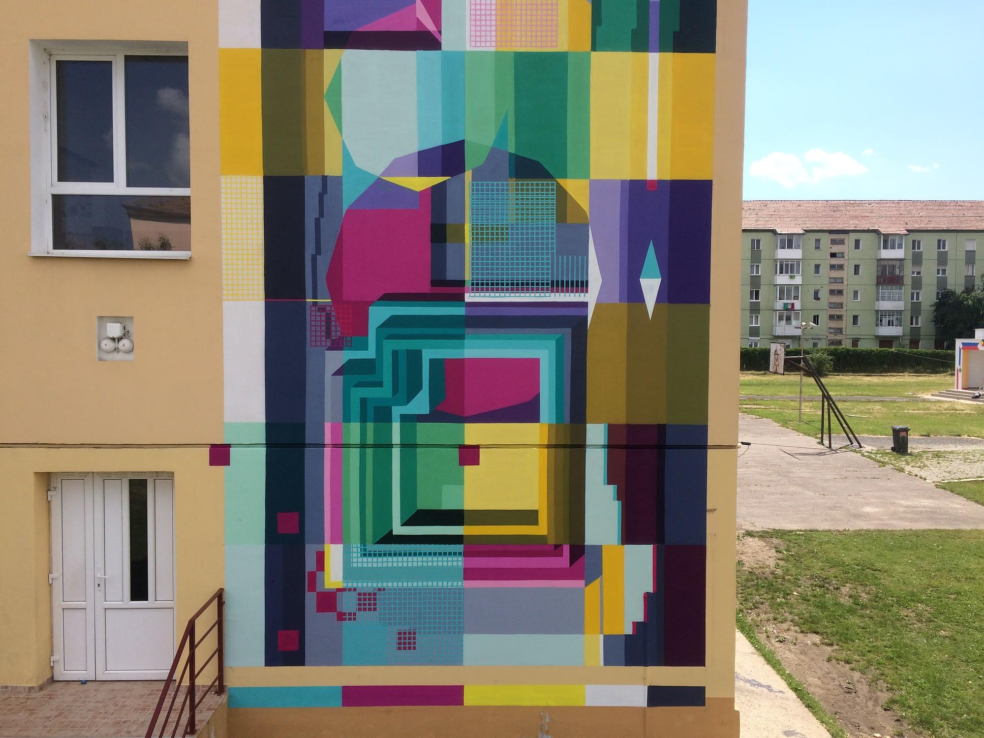 Lost.OpticsGestaltism mural for International Street Art Festival Sibiu 2017 Romania